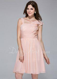 A-Line/Princess Knee-Length Chiffon Bridesmaid Dress With Ruffle (007026084)