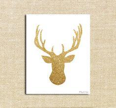 Gold Glitter Deer Digital Winter Art Printable Holiday and Christmas Decor