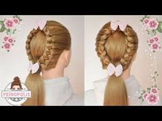 Cute hairstyle for long hair tutorial. Combo braids - YouTube