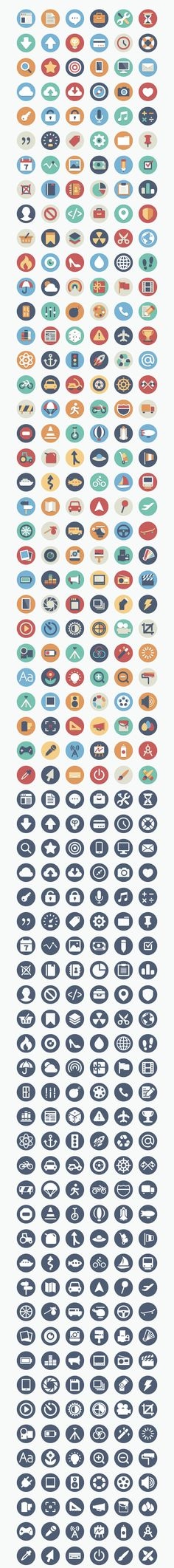 Beautiful flat icons by Elegant Themes // 192 piece set -- all yours, for free! // two versions: full color & single color, for a total of 384 variations. This download includes .ai, .eps, .pdf, and .png