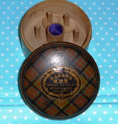 Antique Wooden Clarks ONT Tartan Mauchline Ware Thread Box~Cameron~VGC