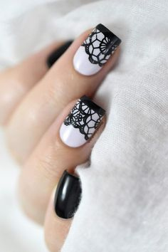 The best DIY projects & DIY ideas and tutorials: sewing, paper craft, DIY. DIY & Tips Nails Art 2017 / 2018 Black lace nail art tutorial. Lace Nail Design, Lace Nail Art, White Nail Designs, Cool Nail Art, Nail Art Designs, Nails Design, Sexy Nail Art, Hair Designs, Nail Art Videos