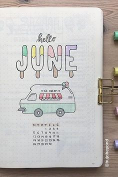 23 Must See June Monthly Cover Ideas For 2020 – Crazy Laura I love how cute and fun this ice cream monthly cover page is! Bullet Journal Headers, Bullet Journal Cover Ideas, Bullet Journal Banner, Bullet Journal Lettering Ideas, Bullet Journal Notebook, Bullet Journal Aesthetic, Bullet Journal School, Bullet Journal Inspo, Bullet Journal Spread