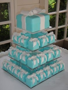 Tiffany blue box cake with mini personal cakes