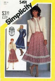 Vintage PATTERN Simplicity 5491 Gunne Sax Misses 12 Skirt Blouse quilted jacket #SimplicityGunneSax