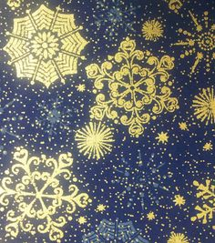 Holiday Inspirations- Snowflake Blue Metallic Fabric