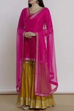 Buy Embellished Kurta Sharara Set by Priyal Prakash at Aza Fashions Dress Indian Style, Indian Fashion Dresses, Indian Designer Outfits, Indian Outfits, Designer Dresses, Indian Wear, Ethnic Fashion, Gharara Designs, Kurti Designs Party Wear