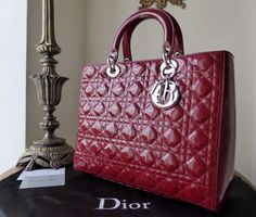 Dior Lady Dior Large Tote in Red Patent with Silver Hardware -SOLD 451791989238f