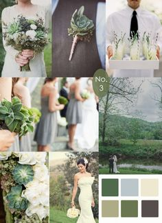Grey, Green and Succulents - wedding inspiration. Not crazy about some of the stuff in these pictures, but like that it shows the colors of green I like with the grey, so we can visualize with the tuxes. @Lisa Phillips-Barton Phillips-Barton McLean