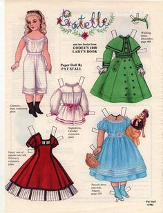 ESTELLE  And Her Frocks from GODEY's 1868 LADY'S BOOK Paper Doll by Pat Stall 1 of 2