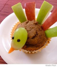 Kids' DIY Turkey Muffins - These are pumpkin muffins with apples, carrot, and icing eyes.  This would be great for Thanksgiving Unit Studies.