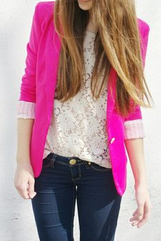 Pink blazer and lace