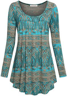 SeSe Code Women's Crewneck Long Sleeve Floral Shirts Flared Casual Tunic Tops(FBA) - My Free Spirit Boutique Tunic Shirt, Pleated Shirt, Long Sleeve Tunic, Long Tunic Tops, Plus Size Blouses, Women's Blouses, Mode Outfits, Boho Tops, Mode Style