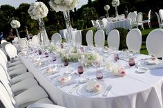 High centerpieces for a magistral reception area...  Wedding by Monte-Carlo Weddings.