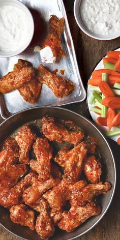 Buffalo Wings with Blue Cheese Dip for the perfect football season snacks