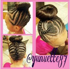 INSTAGRAM -  Instagram : @ Yunuette87 HEART HAIR DESIGN / BUN/ HAIR BRAID / LITTLE GIRL HAIRSTYLE / LITTLE GIRL / HAIRSTYLE / HAIRDO / BRAIDS / PROTECTIVE HAIRSTYLE / SCALP BRAIDS / PRETTY GIRLS / KIDS / GIRLS / NATURAL HAIRSTYLES / CORNROLLS