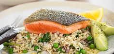 Salmon with brown rice salad recipe Brown Rice Salad, Womans Weekly, Tray Bakes, Salmon Burgers, Seafood, Dinner Recipes, Pumpkin, Vegetarian, Cooking