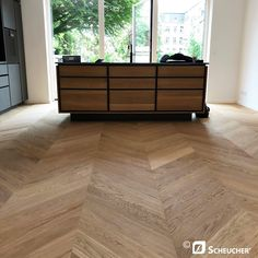 French herringbone parquet in oak, laid in Aarhus Carpet Tiles For Basement, Floor Carpet Tiles, Carpet Stairs, Aarhus, Parquet Flooring, Hardwood Floors, Parquet Chevrons, Chevron Floor, Indoor Outdoor Carpet