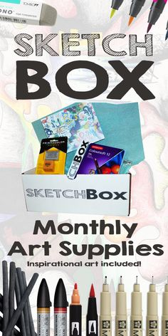 Monthly Art Supplies Delivered to your Door.  Every box comes with inspirational art made with that month's supplies. Click here to check out last month's box. www.getSketchBox.com
