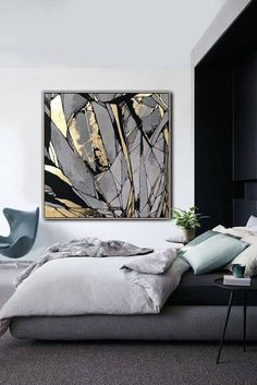 Abstract Painting On Canvas Gray Painting Golden Leaf Painting Abstract Oil Painting Original Abstract Canvas Wall Art Office Decor Large Abstract Painting On Canvas Gray Painting Golden Leaf Abstract Canvas Wall Art, Large Canvas Art, Oil Painting Abstract, Modern Oil Painting, Office Wall Art, Office Decor, Painted Leaves, Mirror Painting, Painting Inspiration