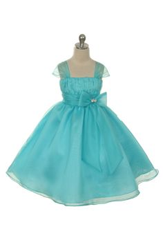 43c3125daa8 Flower Girl Dress Style Turquoise Organza Cap Sleeve Dress with Rhinestone  Accent - Turquoise - Flower Girl Dress For Less