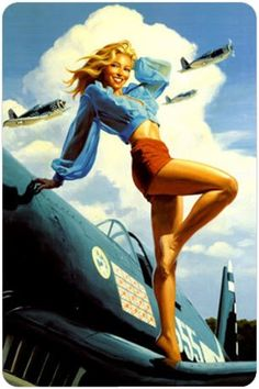 Pin Up Girl - idea for my tattoo except have her leaning on a bat/in baseball themed attire.