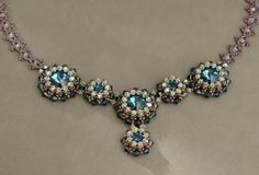 Sidonia's handmade jewelry - Blue Roses Necklace - Swarovski Necklace P1
