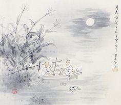 Tanaka Anzanshi 田中案山子 (1906-1970), Playing Go in Moonlight (kakemono, tomobako).