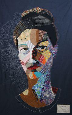 self-portrait, textile art, portrait canvas, fabric fiber art, woman face - magdalena godawa