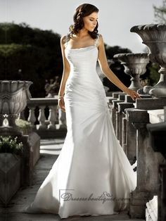 Beaded Spaghetti Staps Ruched Bodice Square Neckline Simple Wedding Dresses
