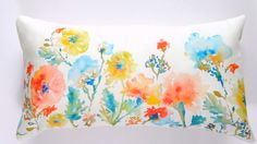 Watercolor floral pillow cover on Etsy by pineapplebaystudio