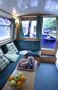 Narrow boat interior  airstream  sofa canal boat