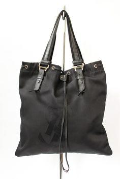 Yves Saint Laurent Black Nylon &  Leather Drawstring Tote