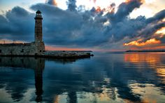 The Lighthouse, architecture, beautiful, clouds, colors, Greece