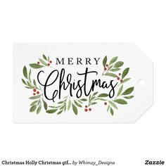 Shop Christmas Holly Christmas gift tag created by Whimzy_Designs. Christmas Gift Tags, Xmas Cards, Holiday Cards, Christmas Holidays, Christmas Crafts, Christmas Decorations, Holly Christmas, Karten Diy, Watercolor Christmas Cards