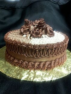 Double chocolate cake with Bavarian cream filling