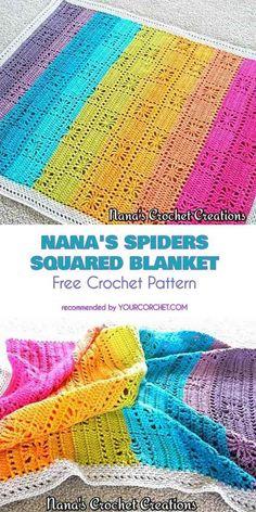 Nana's Spiders Squared Blanket Free Crochet Pattern | Your Crochet #freecrochetpatterns #crochetblanket