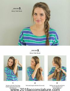 Summer Hairstyles : Messy Side Braid Easy Hairstyles You Can Do In 5 Minutes Photos Cute Side Braids, Pretty Braids, Cool Braids, Simple Braids, Braids Easy, Side Braids For Long Hair, Easy Side Braid, Messy Plaits, Side Braid Tutorial
