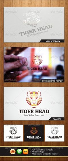 Tiger Head  Logo Design Template Vector #logotype Download it here: http://graphicriver.net/item/tiger-head-logo/5652396?s_rank=1352?ref=nesto