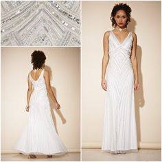 Frock and Frill Teona Gown Art Deco Maxi Dress White Wedding UK 14 Beaded White Maxi Dresses, White Wedding Dresses, Formal Dresses, Frock And Frill, Flapper Dresses, Gatsby, Frocks, 1920s, Art Deco
