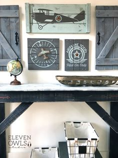Wouldn't this airplane set be the perfect decor for the nursery? Love the rustic and vintage feel!