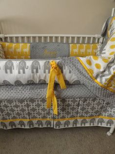 Gray and Yellow elephant Baby bedding Crib set by abusymother