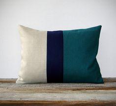 Color Block Stripe Decorative Pillow in Teal di JillianReneDecor, $60.00