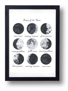 Moon Phases art  INSTANT DOWNLOAD PRINTABLE by SistersWhatShop