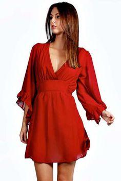 Megan Frill Sleeve Wrap Dress at boohoo.com