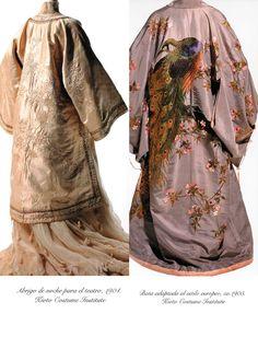 Ya desde mediados del s. XIX, las tiendas de kimonos de Tokyo comenzaron a mostrar gran interés por el mercado occidental, ampliando su comercio y elaborando prendas de estilo japonés, aunque adaptadas a las formas europeas.