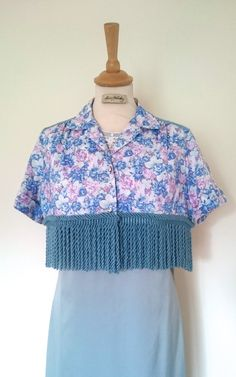 Blue Floral Cropped Tassel Blouse Vintage Floral by AliceHalliday