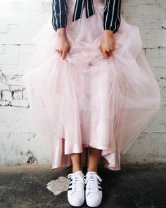Sneakers and tulle.. Maxi tulle skirt in blush