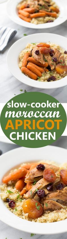 Slow-Cooker Moroccan Apricot Chicken & Carrots! An healthy, easy gluten-free, dairy-free meal that the whole family will love. Delicious over quinoa!