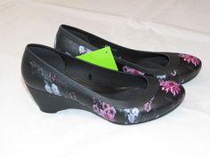 Womens crocs Lina Wedge Pump shoe W 6 W6 Standard Fit black plum 203408 NWT #Crocs #Wedge